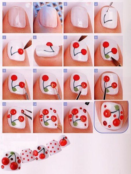 diy nail art - cherry design i wonder what other fruits or veggies you could figure out how to do on your nails.... hmm