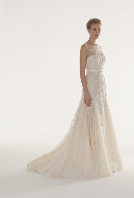 Langner Couture - Fall 2013 - Pathos Sleeveless Embroidered Tulle A-Line Wedding Dress with an Illusion Neckline |