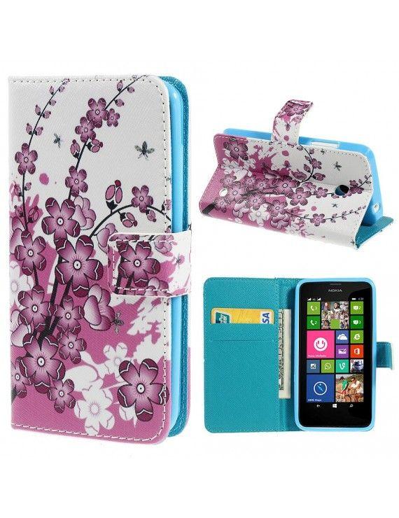 Δερμάτινη Θήκη Πορτοφόλι με Βάση Στήριξης για Nokia Lumia 630 / 630 Dual SIM RM-978 - Όμορφα λουλούδια