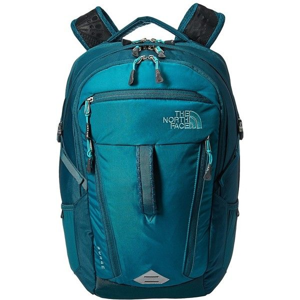 The North Face Women's Surge Backpack (Harbor Blue/Atlantic Deep Blue)... ($129) ❤ liked on Polyvore featuring bags, backpacks, travel rucksack, blue backpack, water bottle backpack, shoulder strap backpack and travel backpack