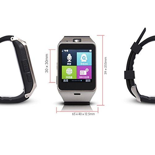 Smart Watch Bluetooth Wrist Watch SIM Card Slot Camera Sports Pedometer Wristwatch Phone Mate for Android Smartphone Samsung Galaxy S8 S7 S6 S5 Note 5 4 3 Huawei P10 P9 Motorola Black   Product Specification: Material: Silicone and Aluminum alloy Scaning QR code to download the APP Type: GSM + Bluetooth watch phone mate P