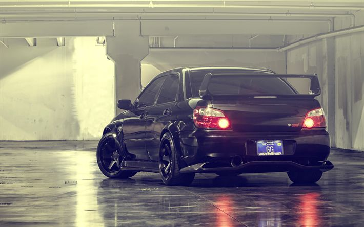 Download wallpapers 4k, Subaru Impreza WRX STI, parking, tuning, black Impreza, supercars, Subaru