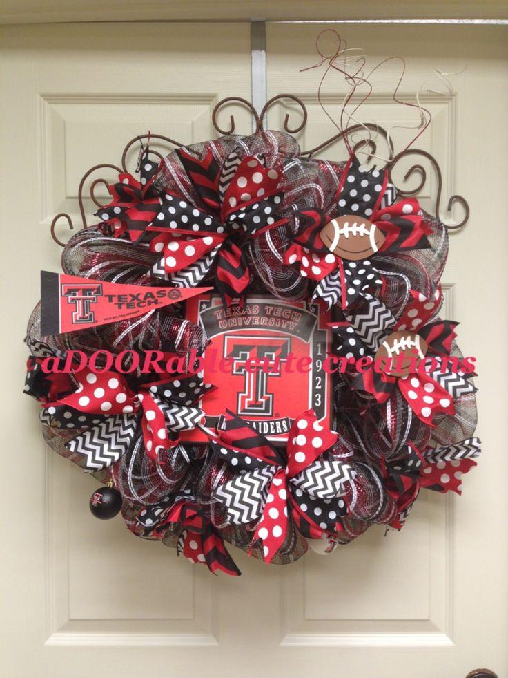 Texas Tech Red Raiders deco mesh wreath created by aDOORable cute creations - https://www.facebook.com/AdooRableCuteCreations?ref=hl
