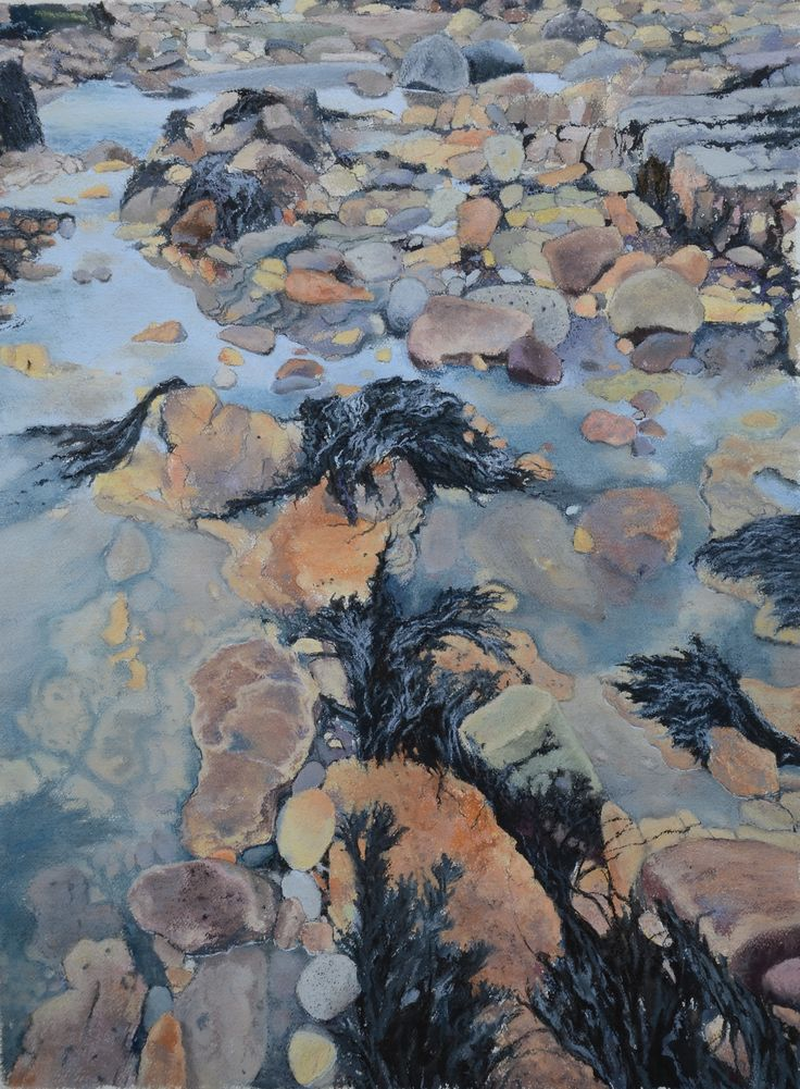Watercolour, pastel and Indian ink by Steve Empson.  At the water's edge, outcrops of Magnesian limestone create rock pools at low tide.