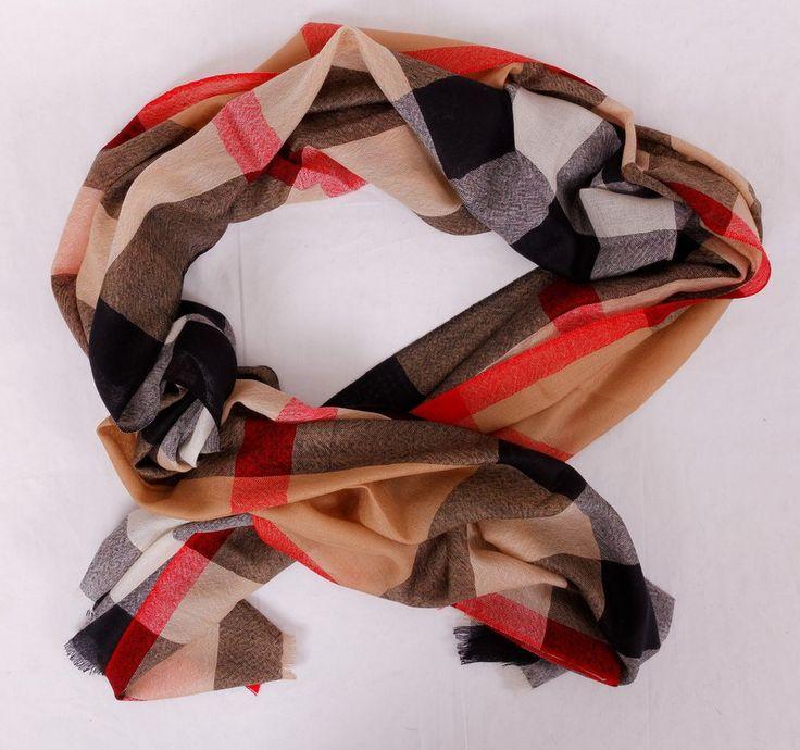 Очень большой шарф Burberry теплый (шерсть и кашемир). Размер 240x75cm #20001