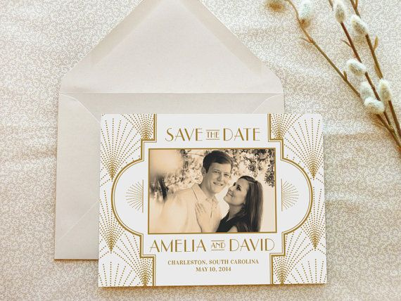 The Charleston 1920s Art Deco Save the Date by merrymint on Etsy, $75.00