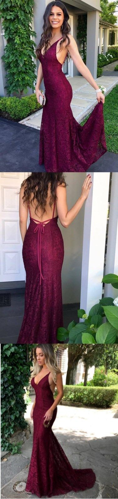 Gorgeous V Neck Burgundy Mermaid Long Prom Dress Graduation Dress Burgundy Lace Prom Dresses #burgundypromdresses #lacepromdresses #prom #dresses #longpromdress #promdress #eveningdress #promdresses #partydresses #2018promdresses #Graduationdresses