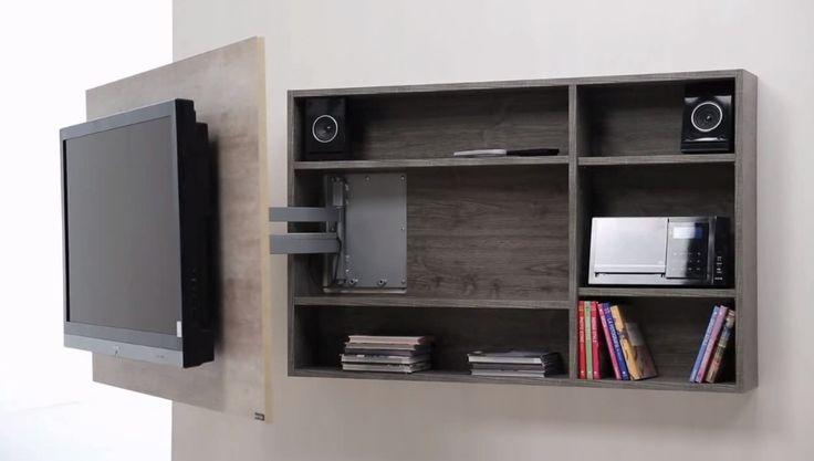 mueble panel tv lcd - led + soporte girat. + rack oculto.