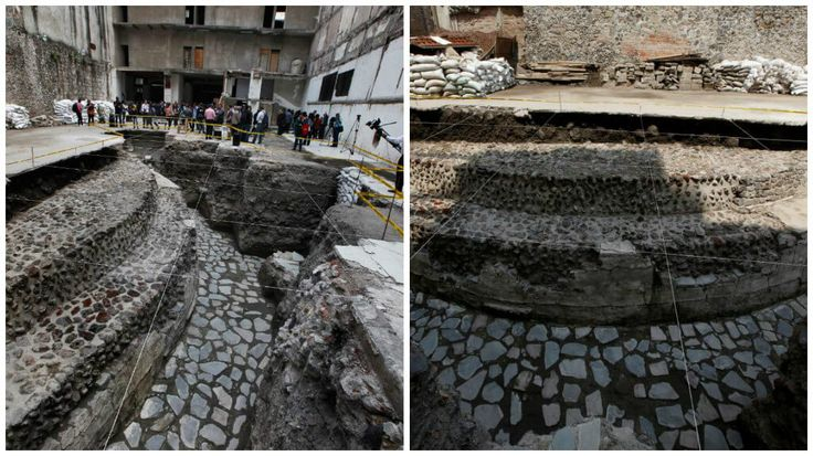 A giant temple to the Aztec god of the wind and a court where the Aztecs played a deadly ball game have been discovered in the heart of Mexico City. Archaeologists unveiled the rare finds after extensive excavations, giving journalists a tour of the semi-circular temple of Ehecatl-Quetzalcoatl and nearby ball court. Records indicate that Spanish conquistador Hernan Cortes first watched the ritual Aztec ball game at the court in 1528, invited by the last Aztec emperor, Montezuma -- the man…