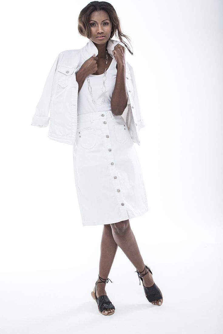 White on white trend - denim jacket worn with A-line button through denim skirt. #miladys #denim #whiteonwhite