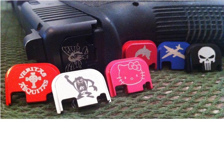 Engraved Glock slide cover plate - black