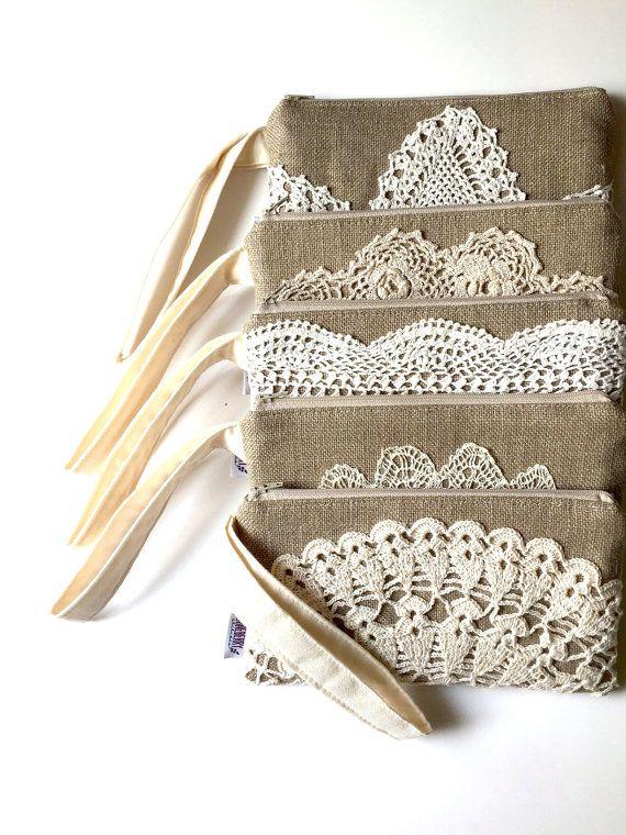 Bolso novia del regalo muñequera de arpillera de lino Dama