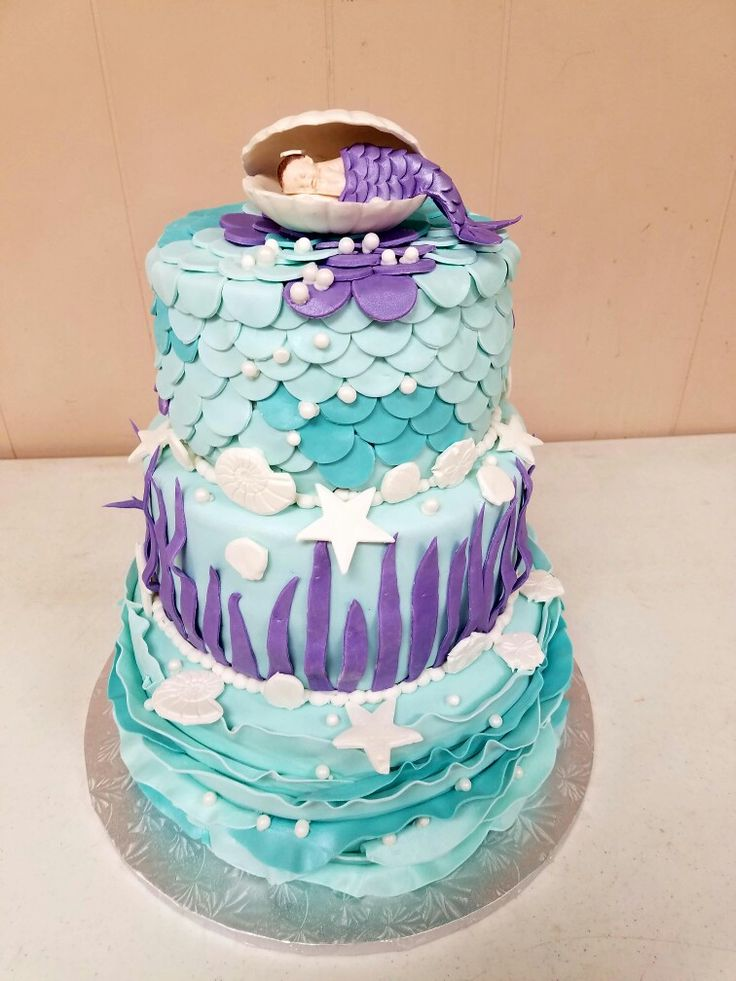 Marvelous Little Mermaid Baby Shower Cake
