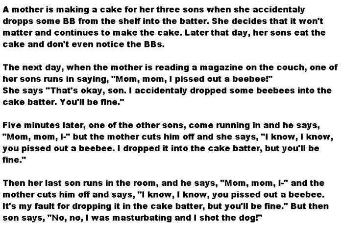 LOL! A mother is baking a cake - Adult jokes - http://www.jokideo.com/