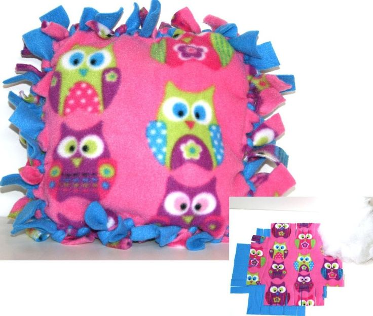 No Sew Fleece Pillow Kits: No Sew Fleece Tied Pillow Craft Kit   8