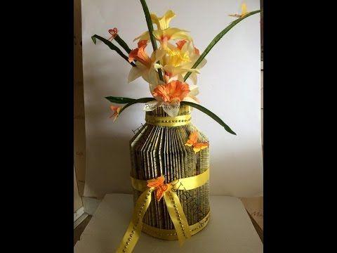 Vase aus einem Buch falten in Milchkannen Form 19 04 2015 - YouTube - easily followed tutorial to complete this vase.