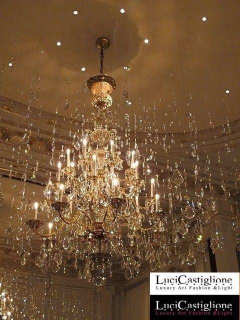 120 Lampadario 27 luci in vetro di murano trasparente e cristalli swarovski effetto stelle cadenti, by Lucicastiglione, 36.899,00 € su misshobby.com