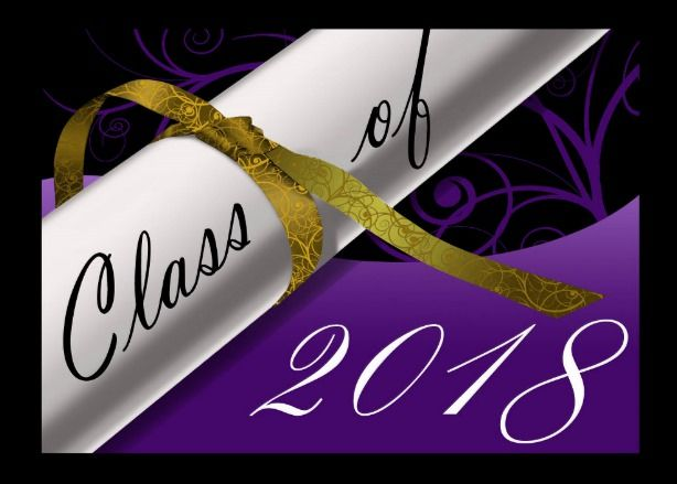 Purple And Gold Graduation Announcement