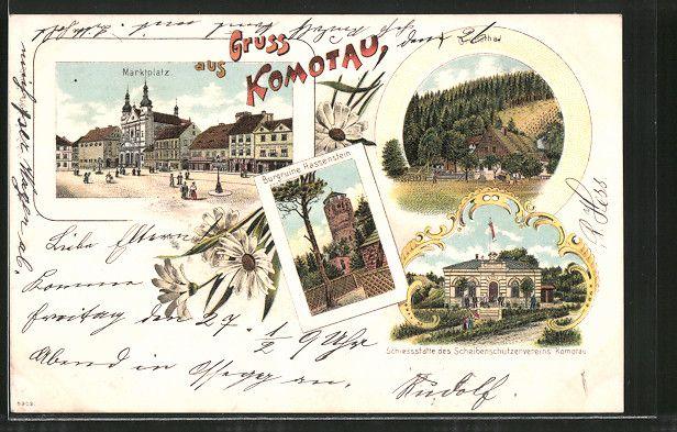 old postcard: Lithographie Komotau / Chomutov, Burgruine Hassenstein, Marktplatz, Schiessstätte des Scheibenschützenvereins