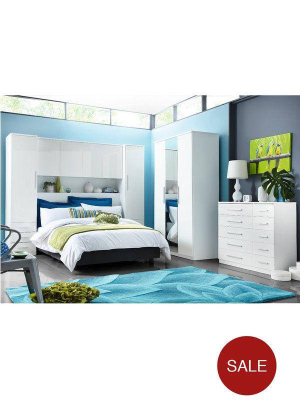 prague high gloss overbed unit wardrobe. Black Bedroom Furniture Sets. Home Design Ideas