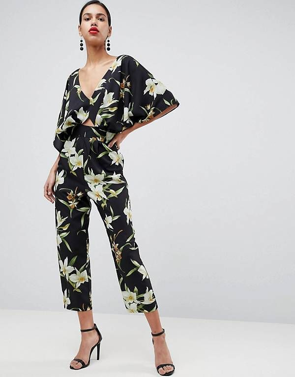 0997f649b8a ASOS Jumpsuit with Kimono Sleeve in Lily Print