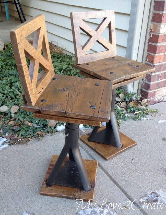 diy rustic industrial seating   Rustic Industrial Kid Chairs - My Repurposed Life™