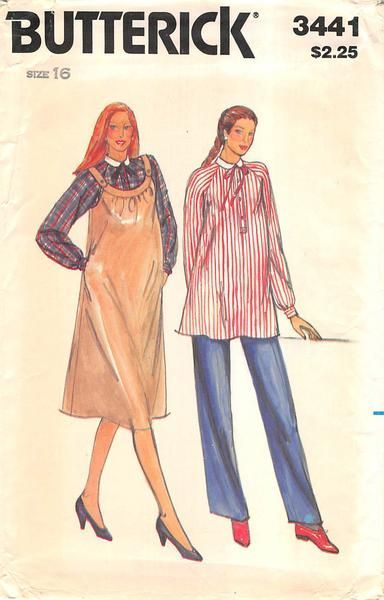 BUTTERICK 3441 - FROM THE 80s - UNCUT - MISSES MATERNITY JUMPER AND TOP