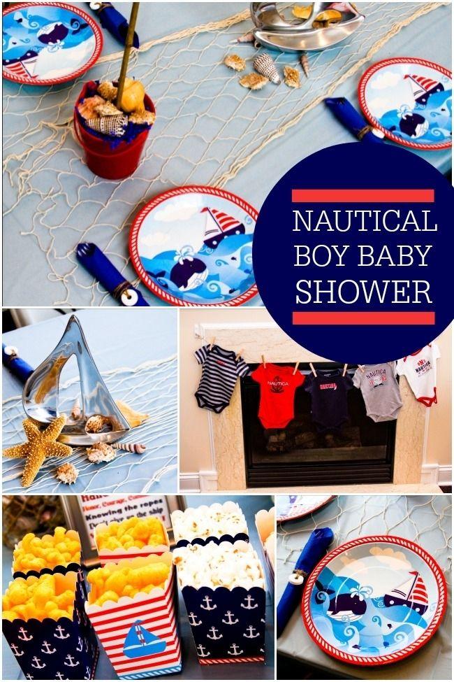 boy's nautical themed baby shower ideas www.spaceshipsandlaserbeams.com