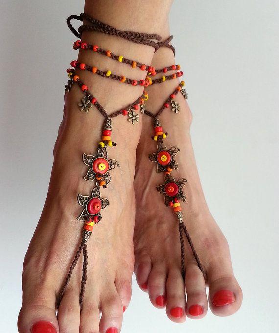 Sunshine flowers Hippie barefoot sandals Flame colors Boho barefoot sandal Orange Red Gypsy foot jewelry Hippie anklet crochet sandal summer