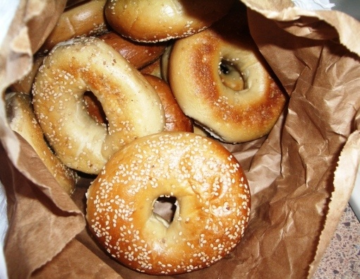 Nothing like a NY bagel <3 With enough cream cheese on one to choke a horse!
