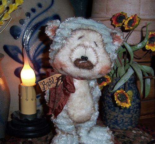 """Primitive Raggedy Teddy Fuzzy Cub Baby Bear 6"""" Doll ★ Vtg Patti's Ratties Ornie"""