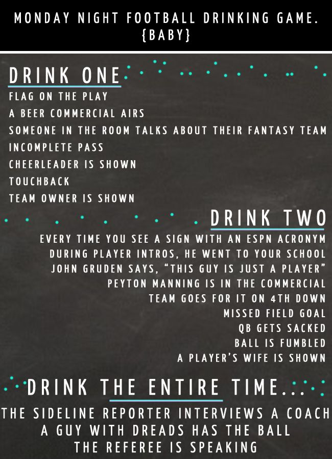 Venus Trapped: Monday Night Football Drinking Game