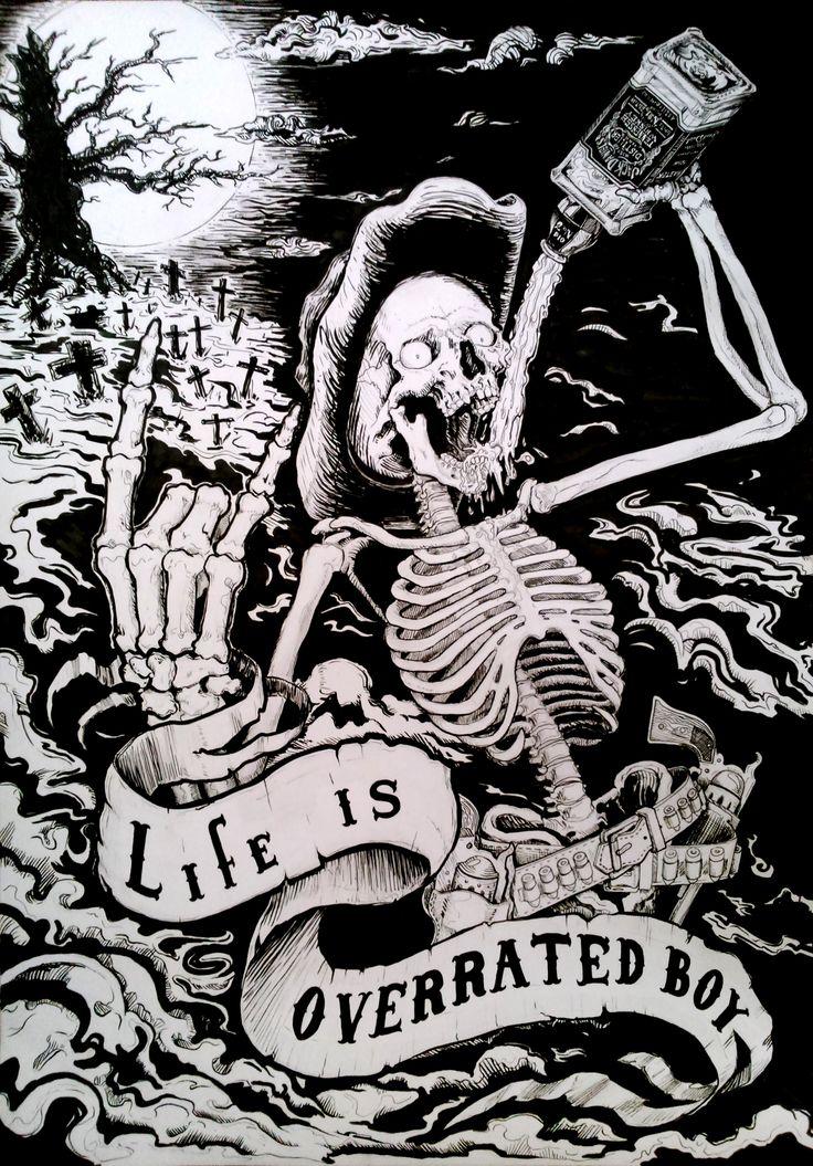Cowboy from hell (life is overrated boy) -  Trabajo hecho en tintas, dimenciones 38x54