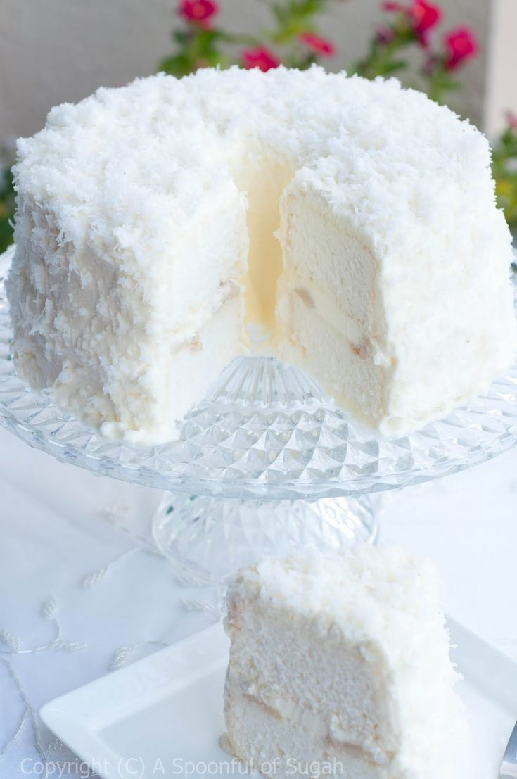 Coconut Angel Cake - perfect for winter dinner dessert - add a small golden deer on top and perfection!
