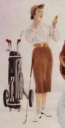 Through the 1950s and into the early 60s, most women golfers wore a blouse and skirt often topped with a cashmere sweater, or a cotton one piece shirt dress. Increasingly, it was acceptable for a woman to wear a sleeveless blouse and even Bermuda shorts on the golf course. Illustration from a Max Factor Ad, 1959