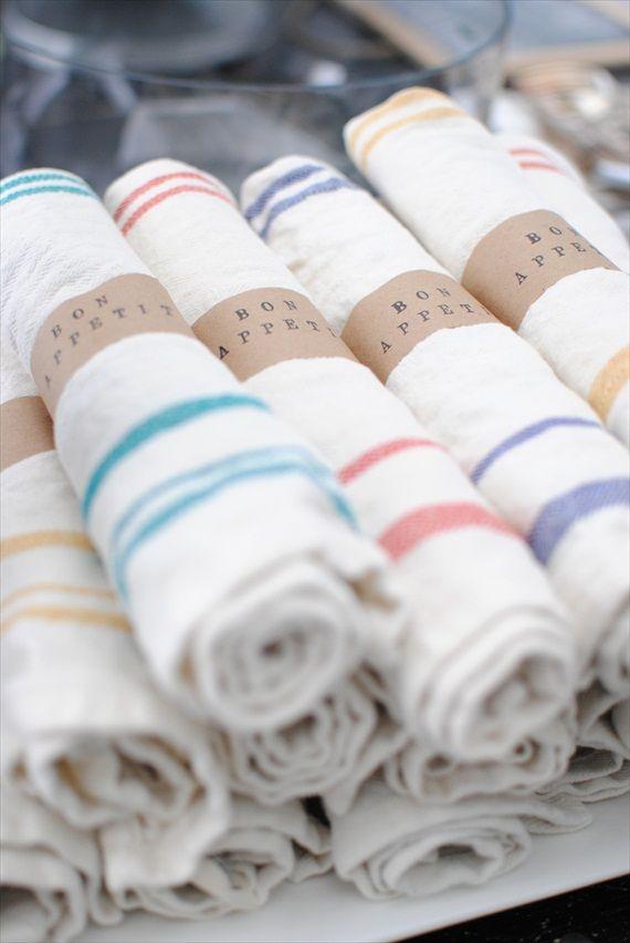 kraft paper wrapped napkins. 'bon appetite'. love! by grace happens. #handmade #wedding #kraft #paper