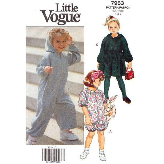 Girls Jumpsuit & Dress Pattern Vogue 7953 by finickypatternshop