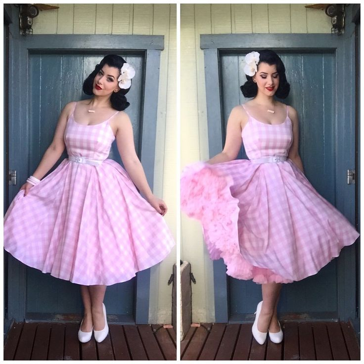Miss Victory Violet is pretty in pink in our Priscilla Pink Gingham Midi Dress…