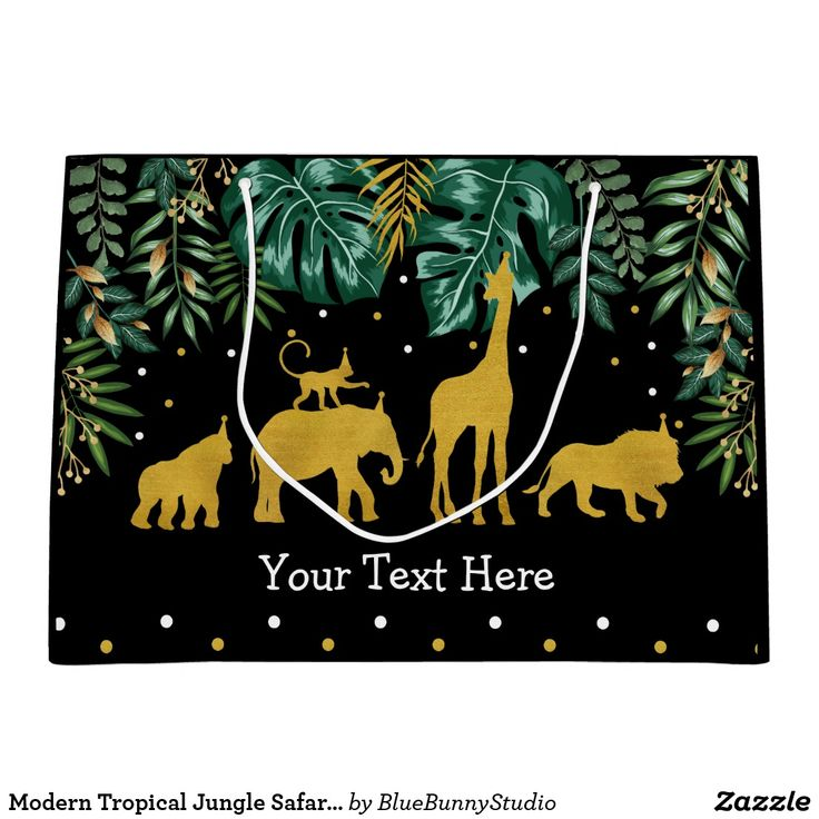 Modern Tropical Jungle Safari Animals Wild One Large Gift Bag | Zazzle.com
