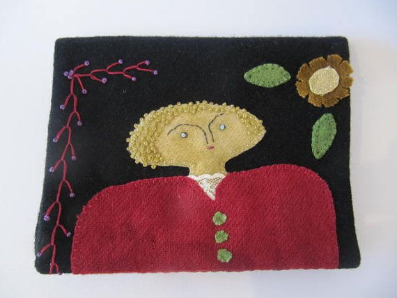 Large Embroidered Primitive Needlebook/Sewing by mariadownunder, $55.00