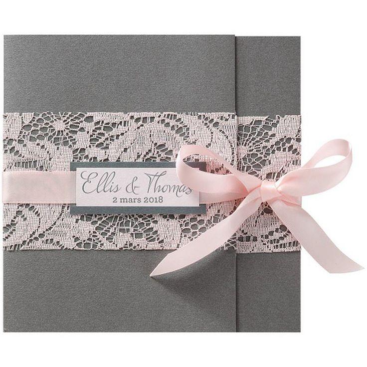Faire part mariage romantique gris dentelle ruban roses BELARTO Romantic 726077