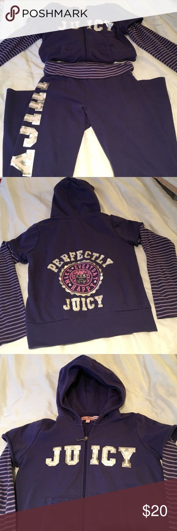 JUICY COUTURE Girls Sweatsuit Very good condition .. Shows normal wear.  Beautiful purple and silver combo.  Pants have striped fabric that folds over waist and matches sleeves.  87% Cotton and 13% Poly.  Girls Size 10 but runs a little small.  I believe more like size 8. Juicy Couture Matching Sets