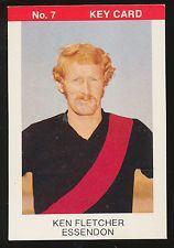 1975 Tip Top Sunblest VFL Ken Fletcher Essendon Football Key Card No 7