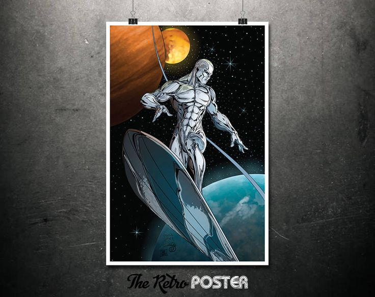 Silver Surfer - Comic Book Art, Marvel Poster, Comic Art, Kids Prints, Superhero Print, Boys Room Decor, Boys Bedroom, Boys Prints by TheRetroPoster on Etsy