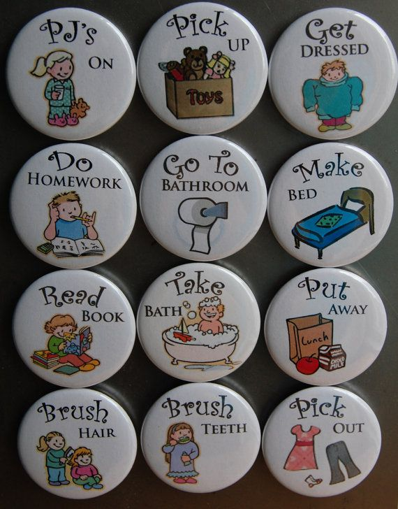 Any 12 Chore Chart Magnets - Magnet Buttons 1.5""