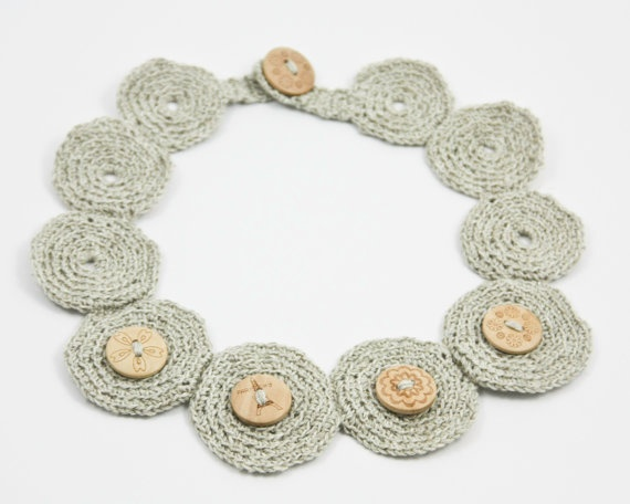 Natural Linen Necklace Crochet Wood Button Boho by BoooBeadShop on Etsy