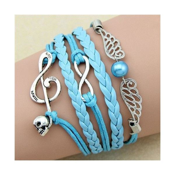 Music note wings blue charm unisex teen bracelet MyFriendShop and other apparel, accessories and trends. Browse and shop 1 related looks.