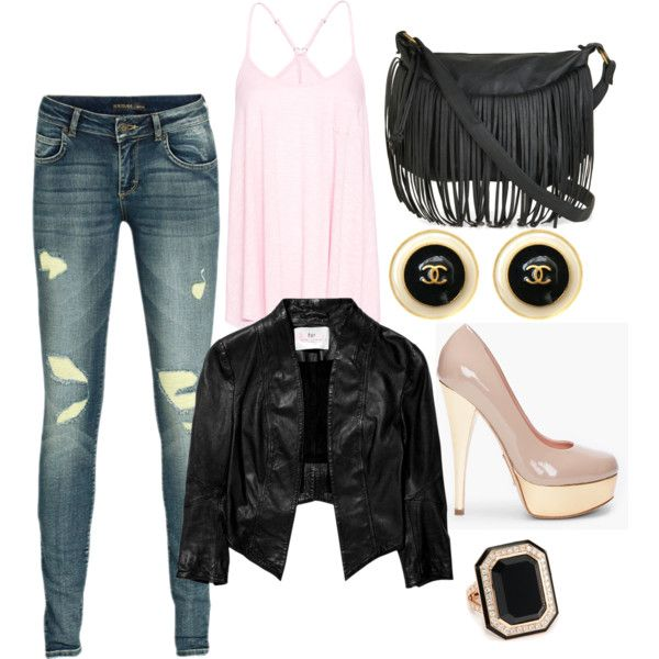 A little feminine and a little BA. Jeans, a leather jacket, and black fringe bag are softened with light pink accessories.