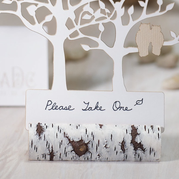 faux birch log rustic place card holders set of 6