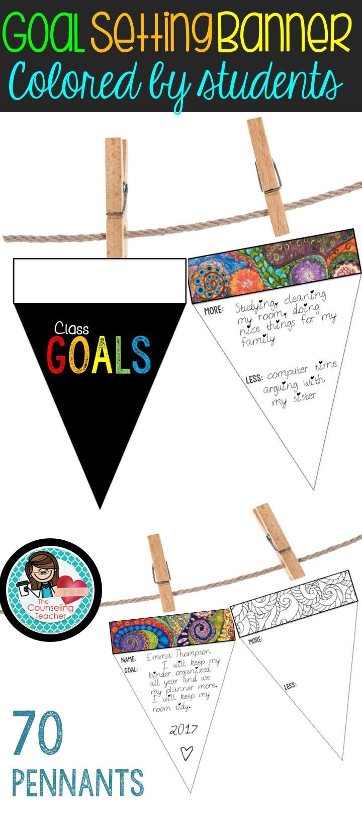 Need a fun, relaxing activity to promote goal setting and New Year's resolutions? This calming coloring activity allows students to color away stress while also creating attainable goals for the new year. Students decorate two banners each. Put all of the banners together on a string with clothespins for display. Principals and parents will be impressed by this super cute, functional design element in your office or classroom.
